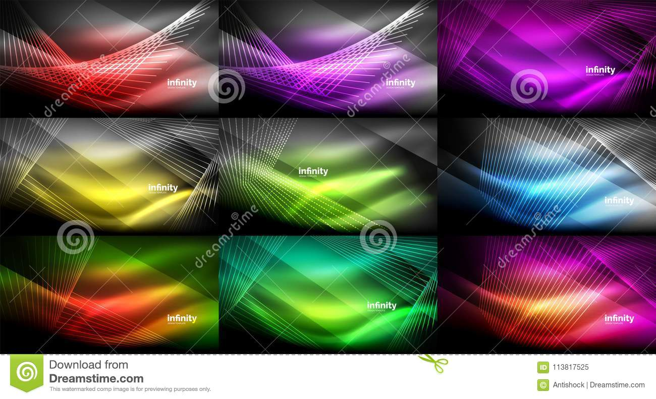 Mega Collection Of Abstract Neon Backgrounds, Glowing Shiny