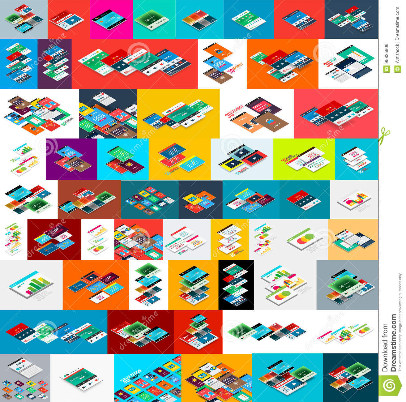 Mega Collection Of Vector Isometric App And Web Site Development