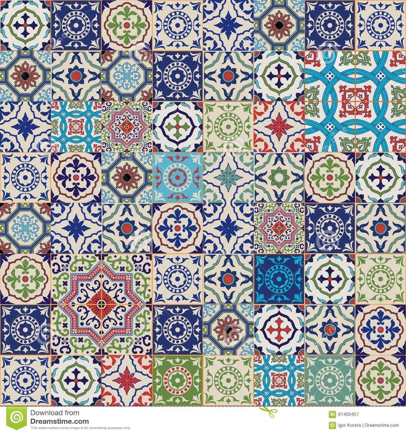 Mega Gorgeous seamless patchwork pattern from colorful Moroccan, Portuguese tiles, Azulejo, ornaments.