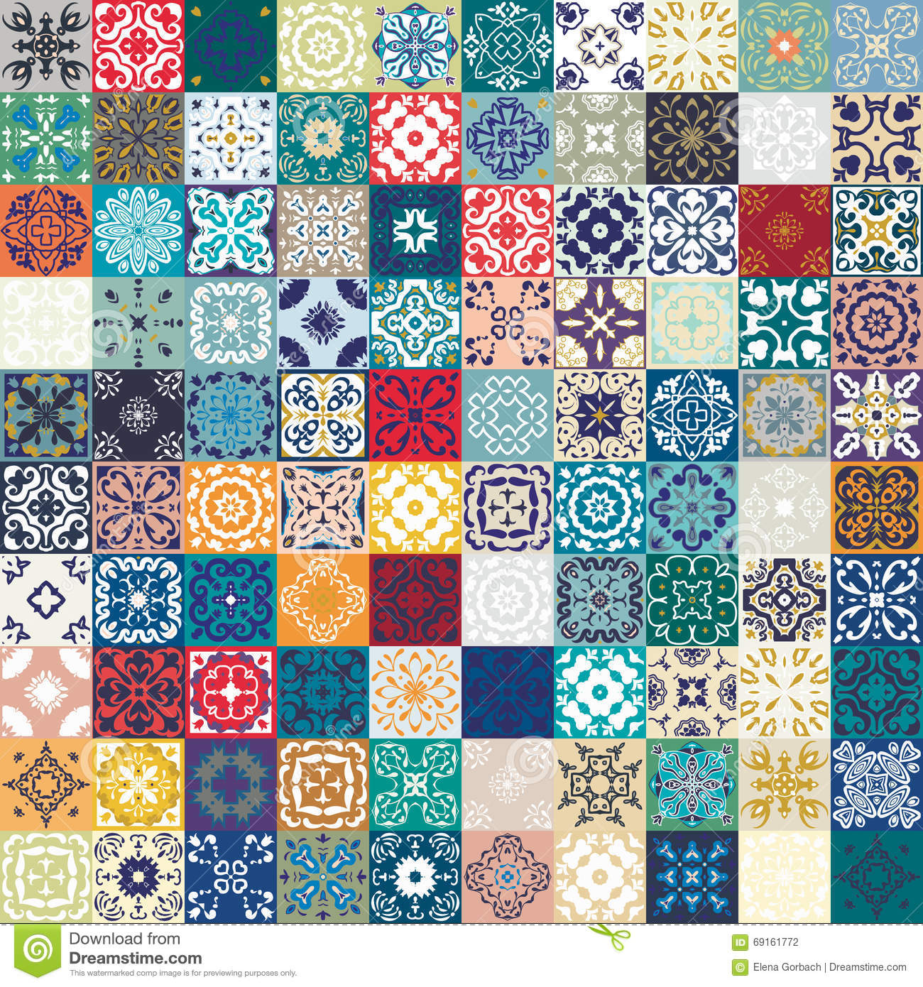 Mega gorgeous seamless patchwork pattern from colorful moroccan tiles orname - Papier peint patchwork ...
