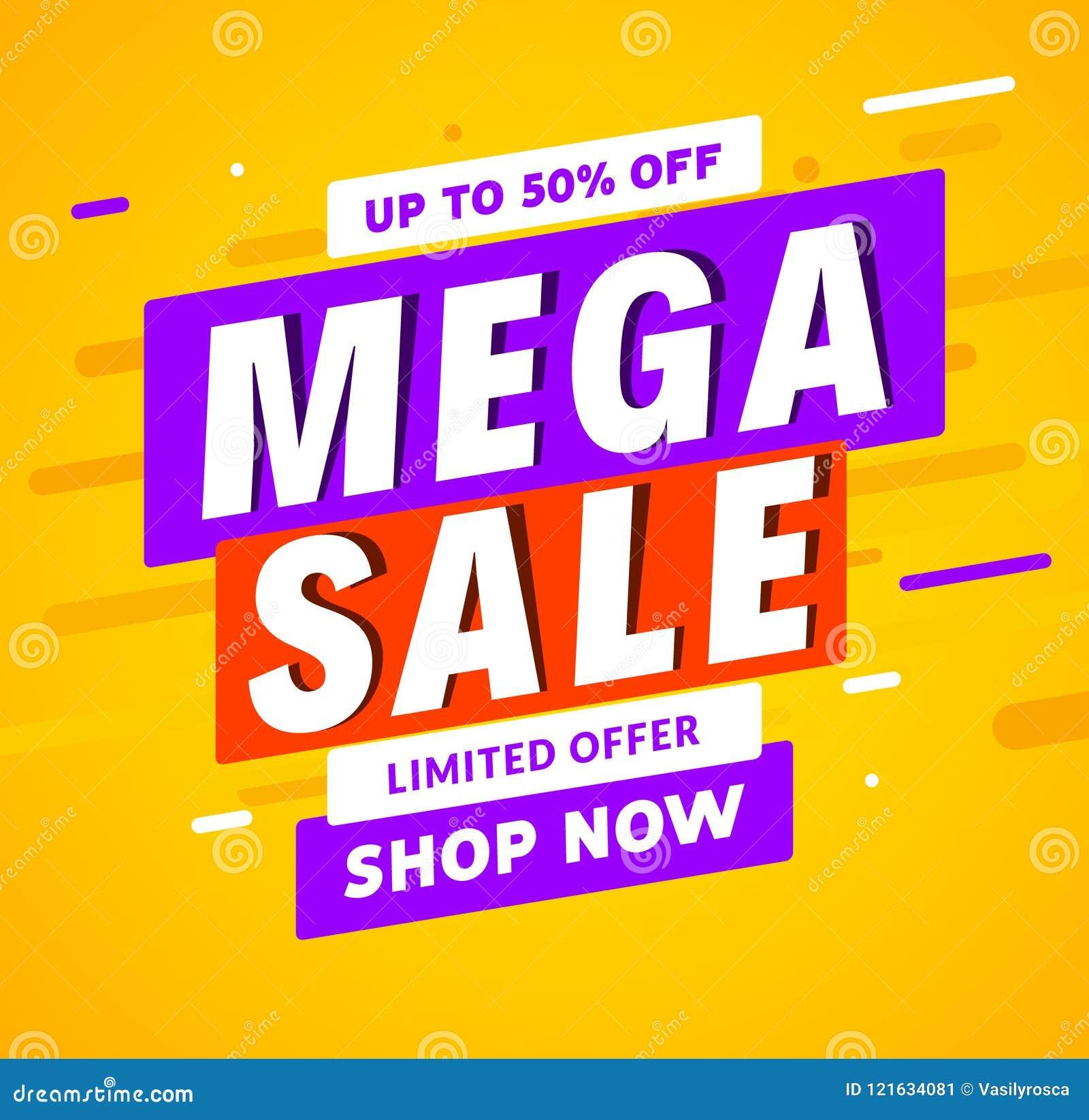 mega sale banner template design big sale special offer promotion