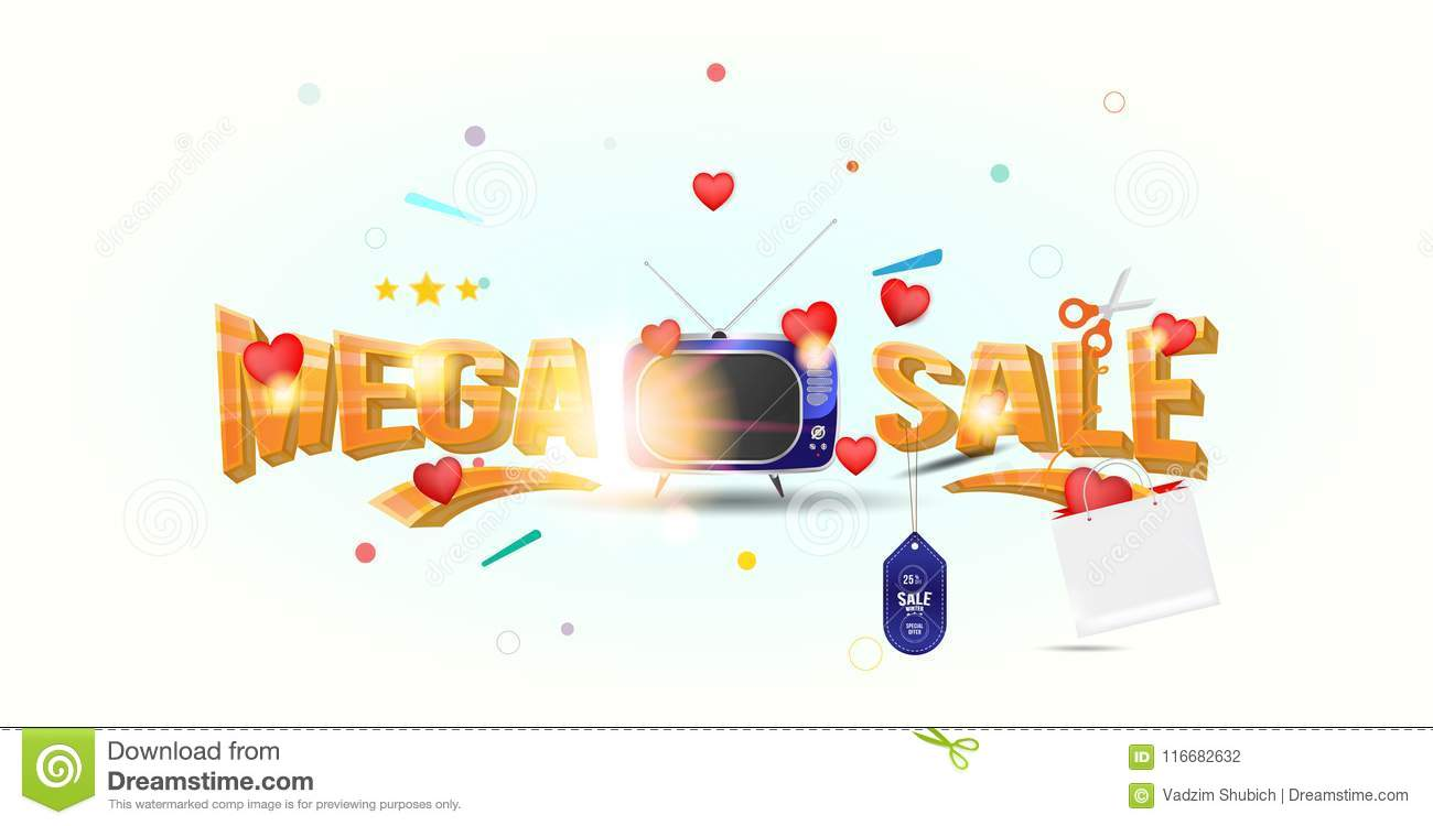 Mega sale of 25 . The concept for big discounts with voluminous text, a retro TV and red hearts on a light background with light e