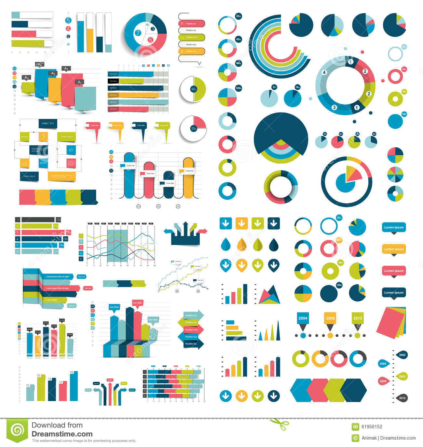 Mega- Sammlung Diagramme, Diagramme, Flussdiagramme, Diagramme und infographics Elemente