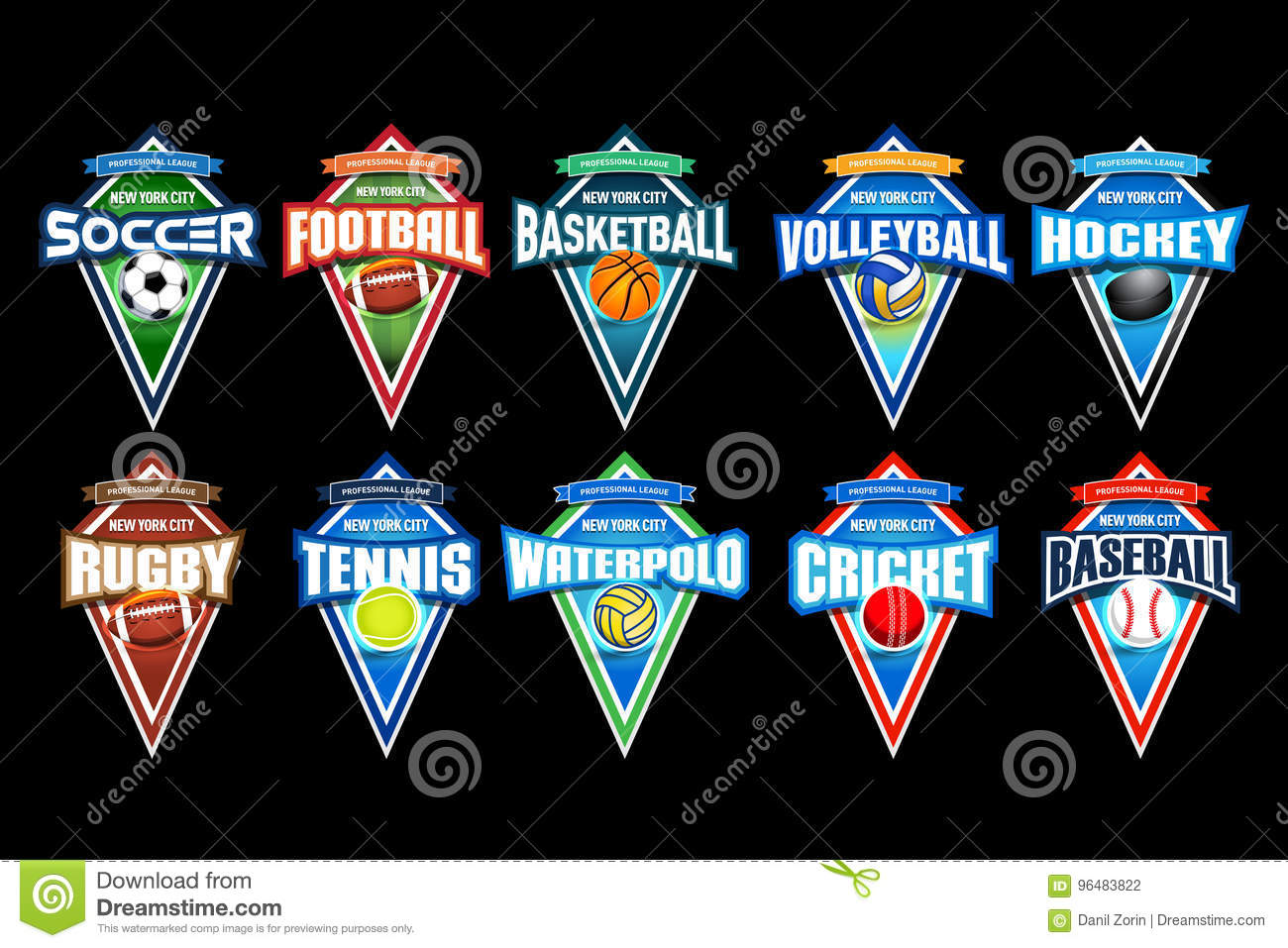 Color Sport Background Football Basketball Hockey Stock: Waterpolo Stock Illustrations
