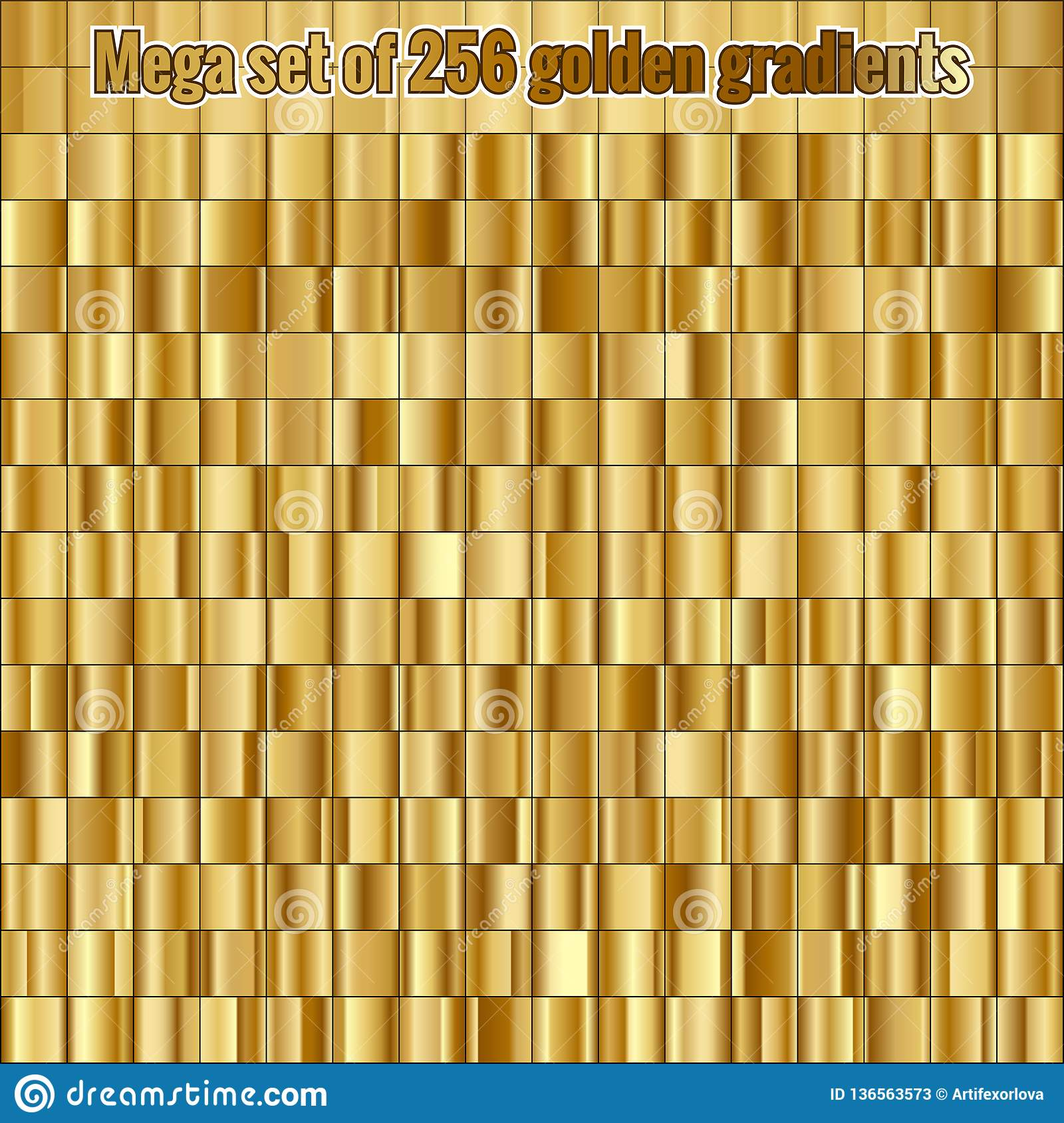 Mega set consisting of collection 256 golden gradients. EPS 10