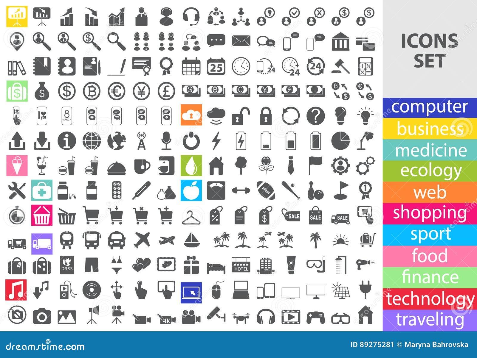 Mega Set Of Flat Vector Icons Stock Vector - Illustration of