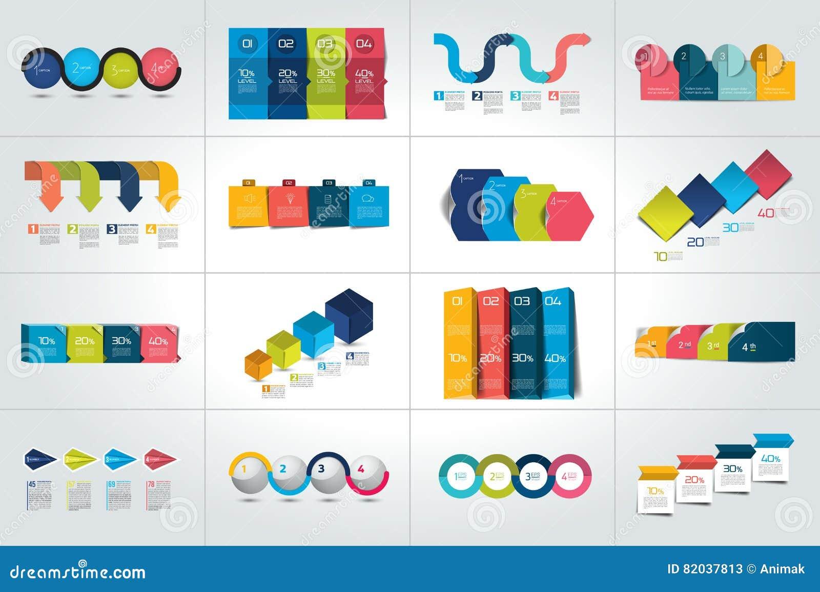 Mega Set 4 Kroka Infographic Szablonu Diagramy Wykres Prezentacje Mapa