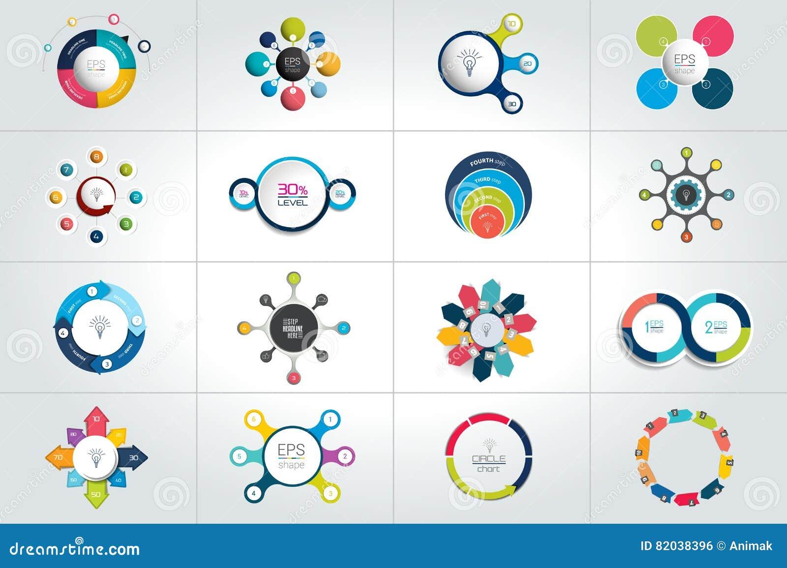 Mega Set Okrg Round Infographic Szablony Diagramy Wykres Prezentacje Mapa