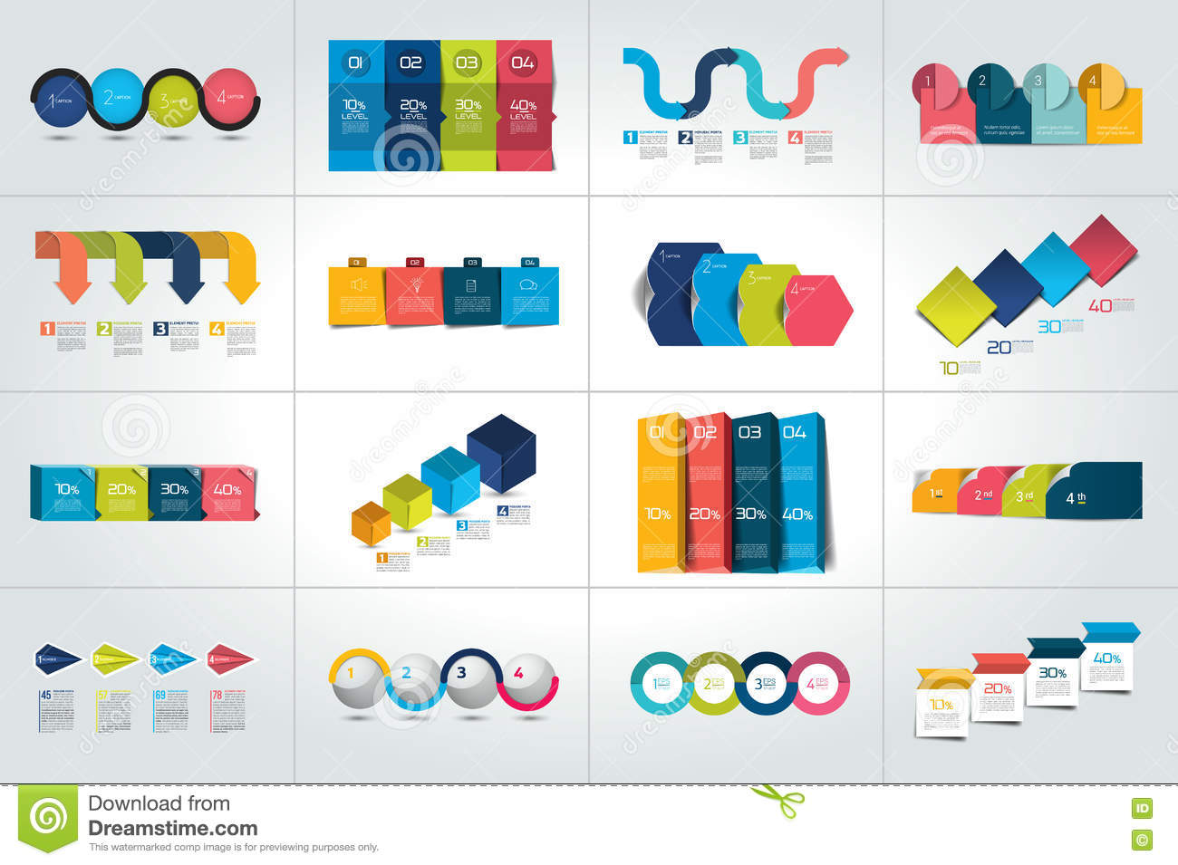 mega set of 4 steps infographic templates  diagrams  graph