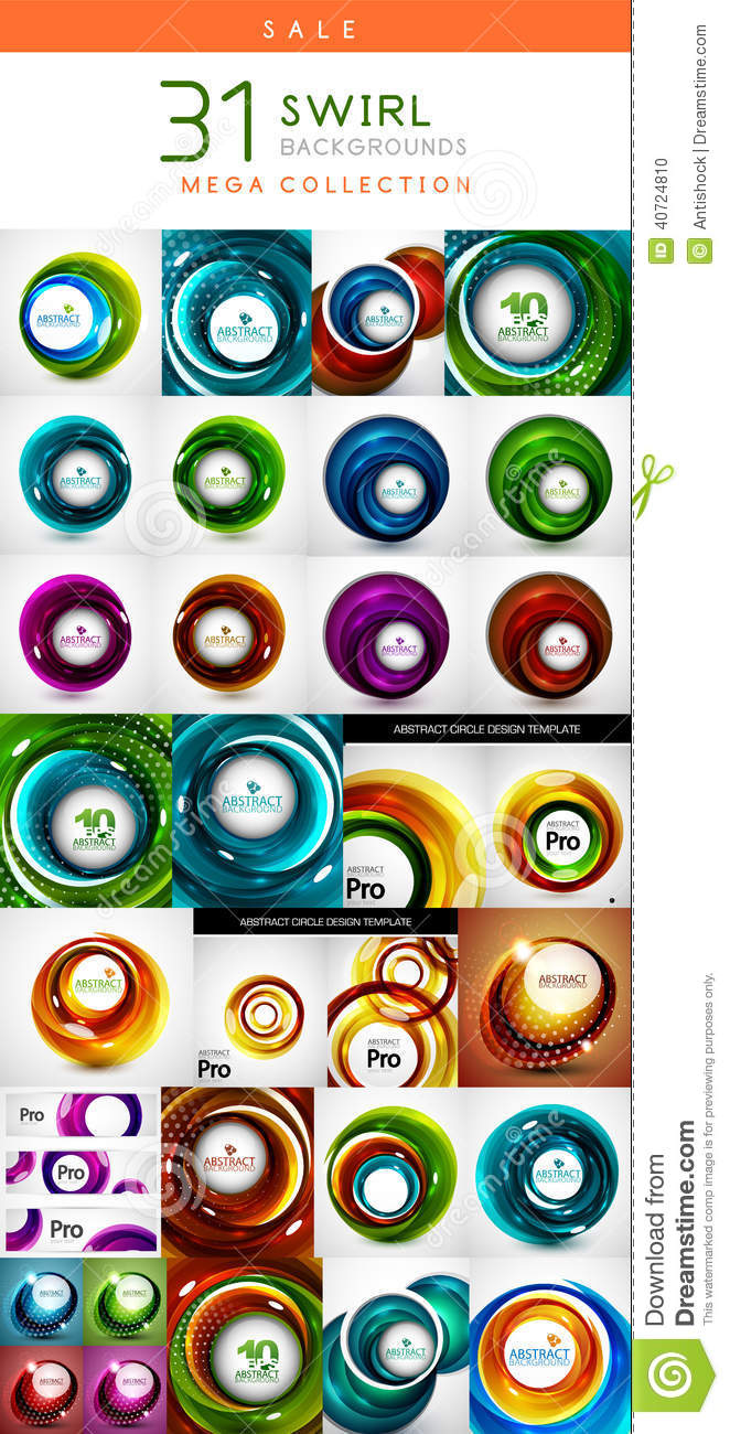 Mega set of swirl circles abstract backgrounds