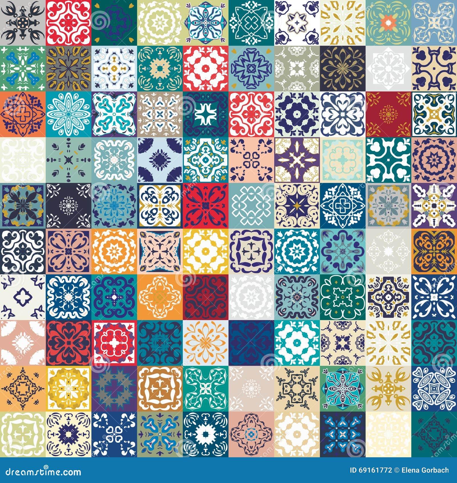 Mega ursnygg sömlös patchworkmodell från färgrika marockanska tegelplattor, prydnader Kan användas för tapeten, modellpåfyllninga