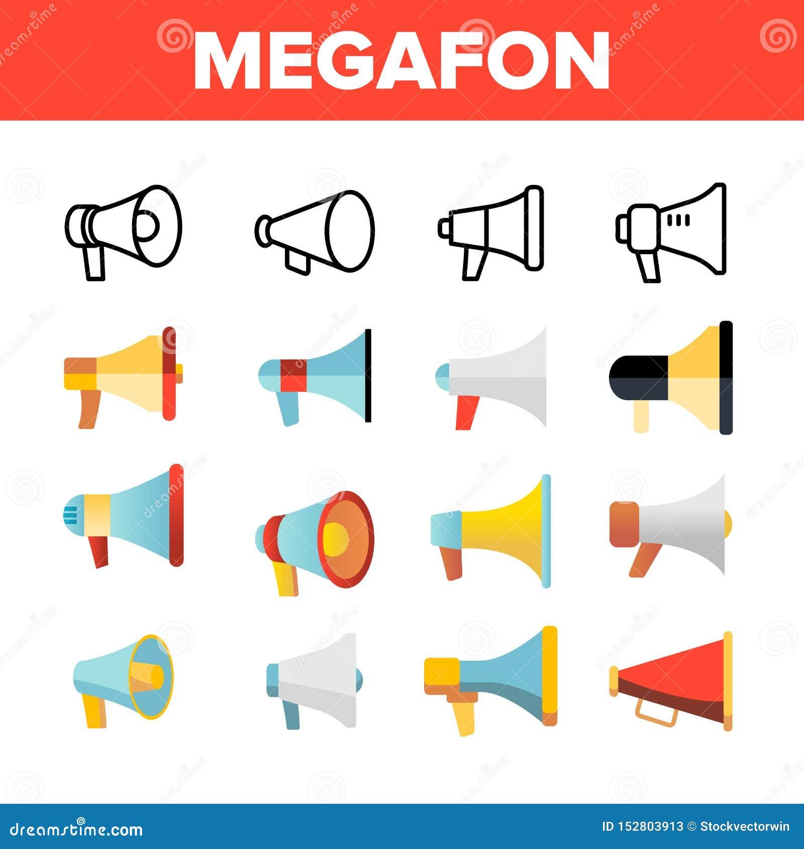 Megafon, megáfono, sistema linear de los iconos del vector del altavoz