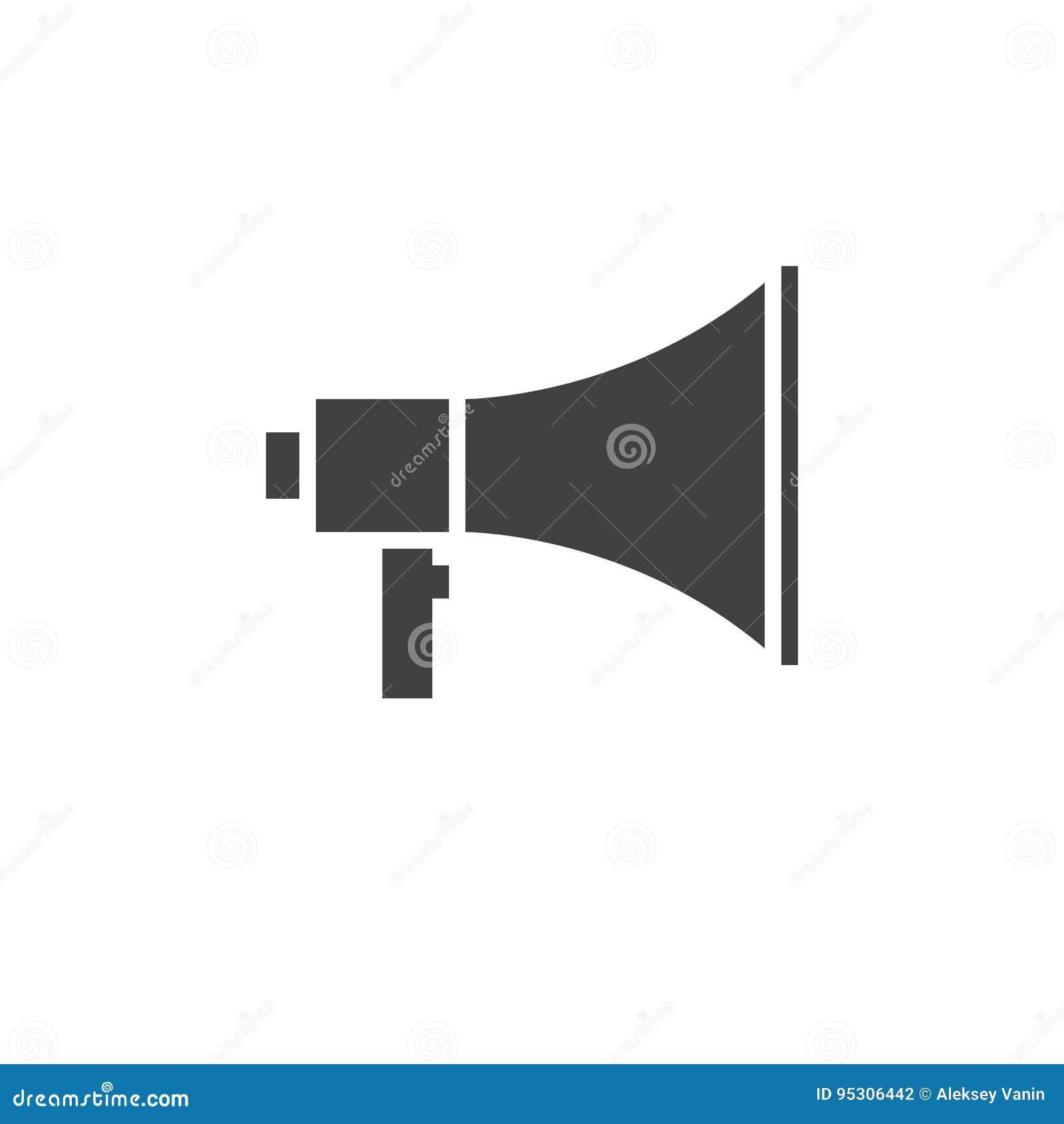 Megafonsymbolsvektor, fast logo för megafon, isolerad pictogram
