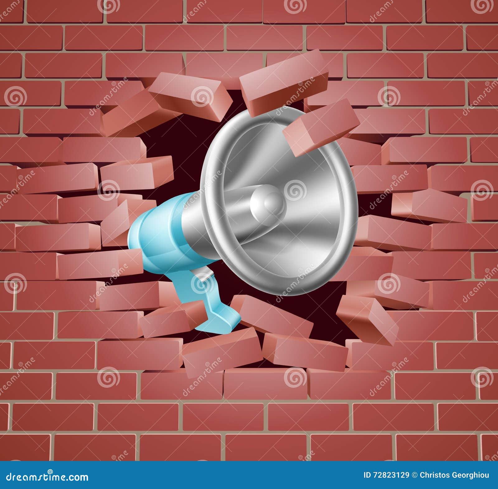 Megafoon het Breken door Bakstenen muur