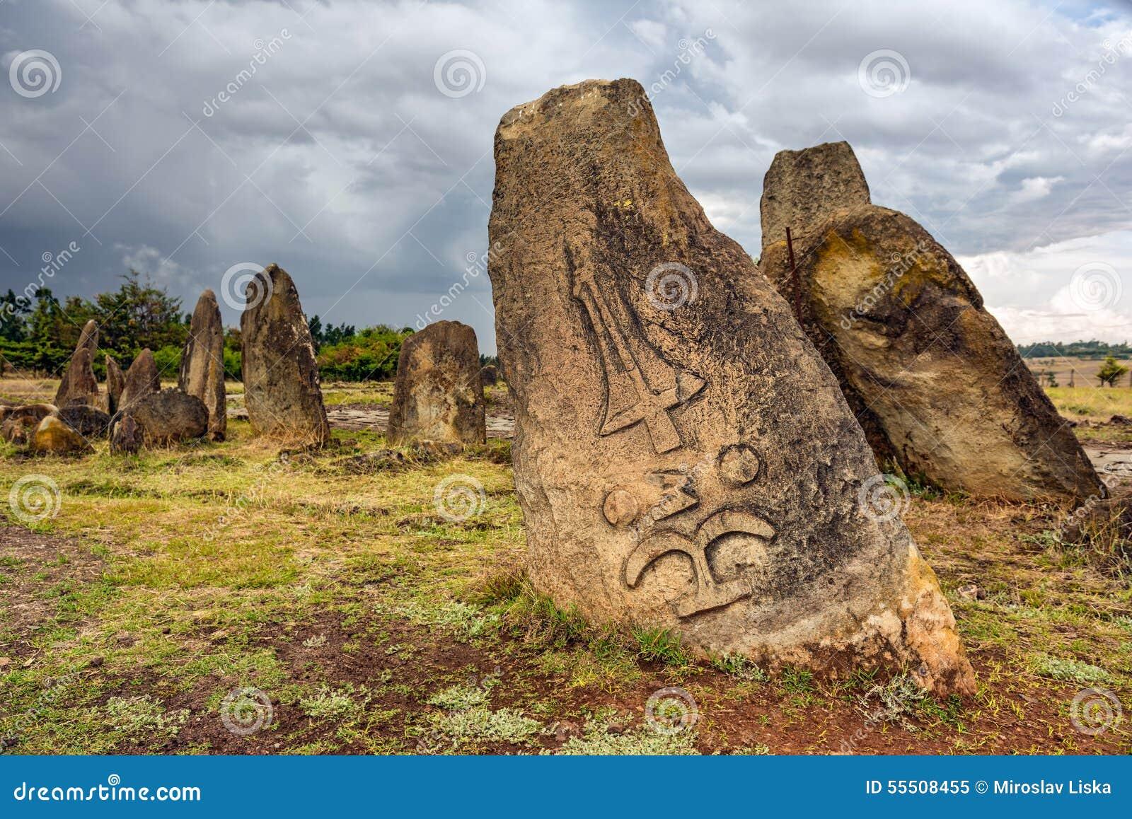 Megalithen-Tiya-Steinsäulen, Addis Ababa, Äthiopien