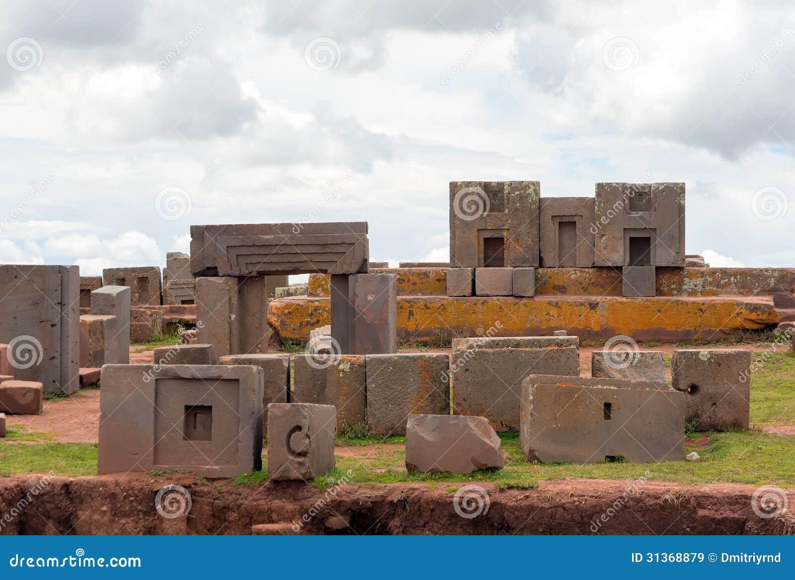 Megalithic stone complex puma punku bolivia stock image