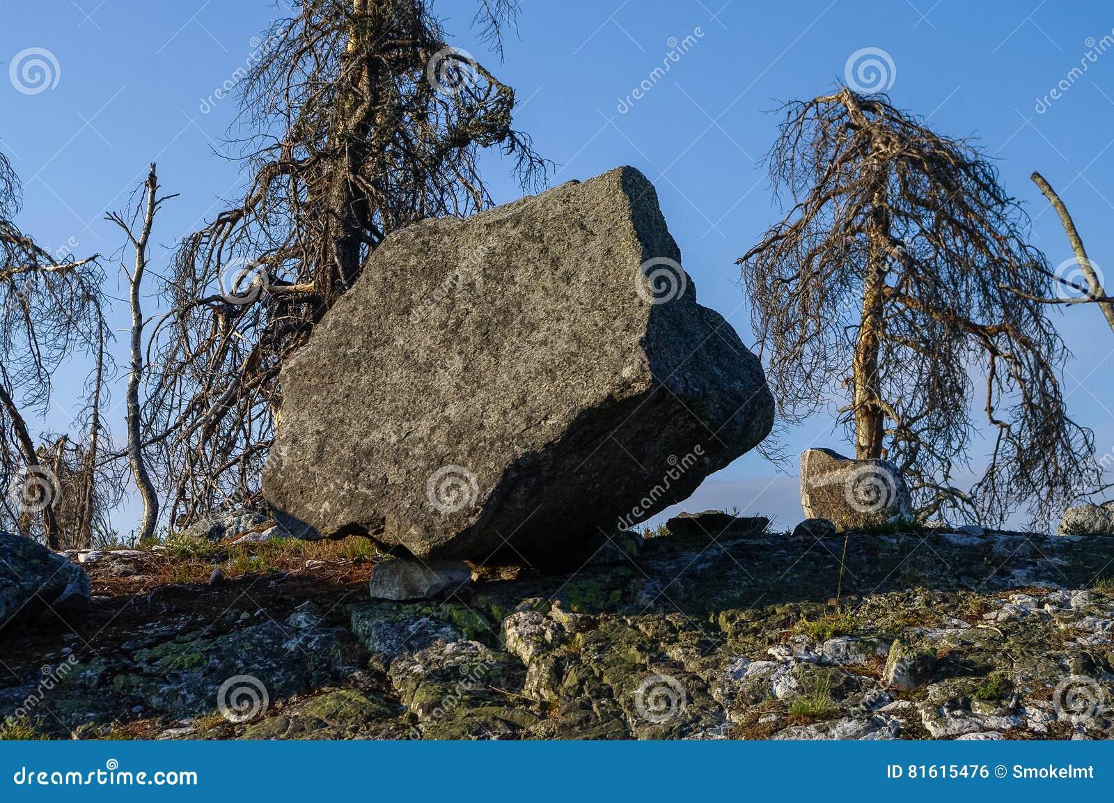 Megalithic stone -`seid`, on mountain Vottovaara, Karelia