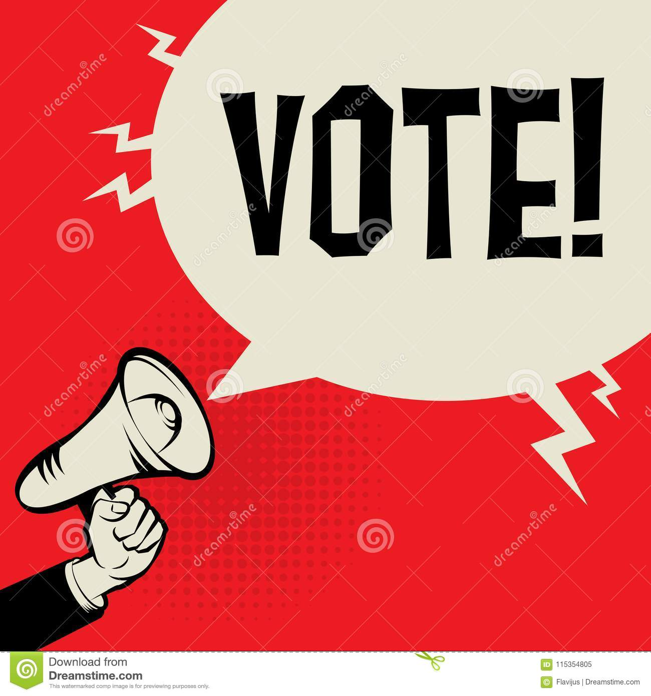 Megaphone Hand, business concept with text Vote