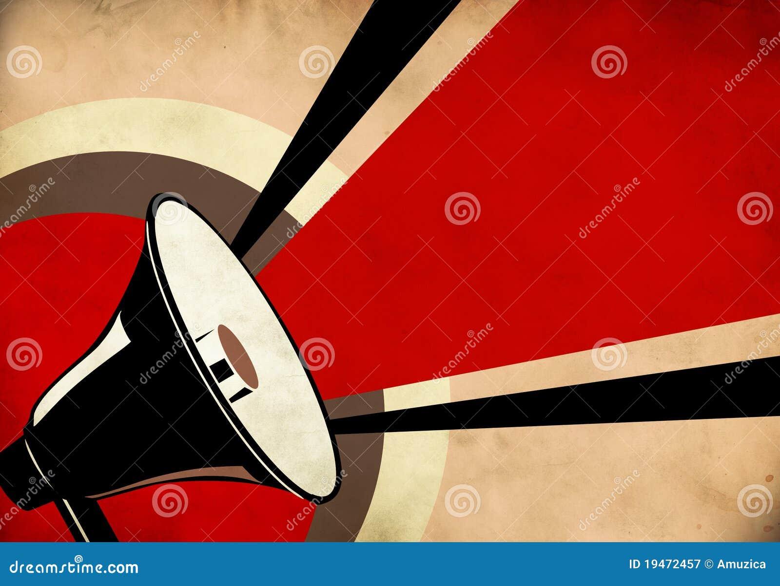 megaphone or loudspeaker on grunge background royalty free