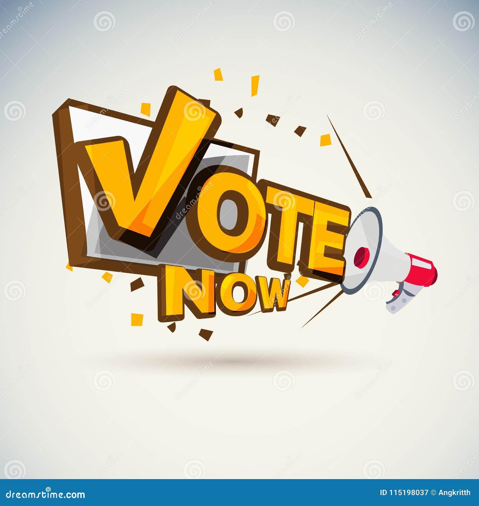 Megaphone with `Vote` Vote today concept Typographic -