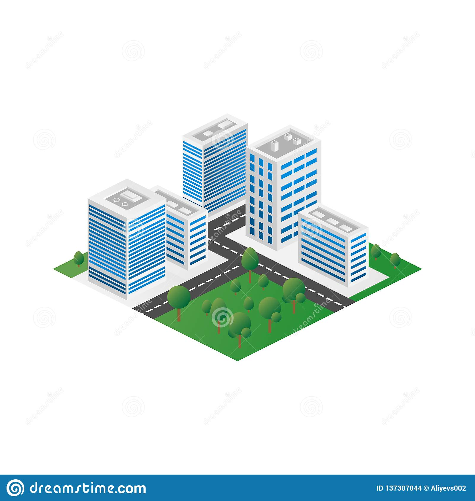 Megapolis 3d isometric three-dimensional view of the city. Collection of houses, skyscrapers, buildings, built and supermarkets