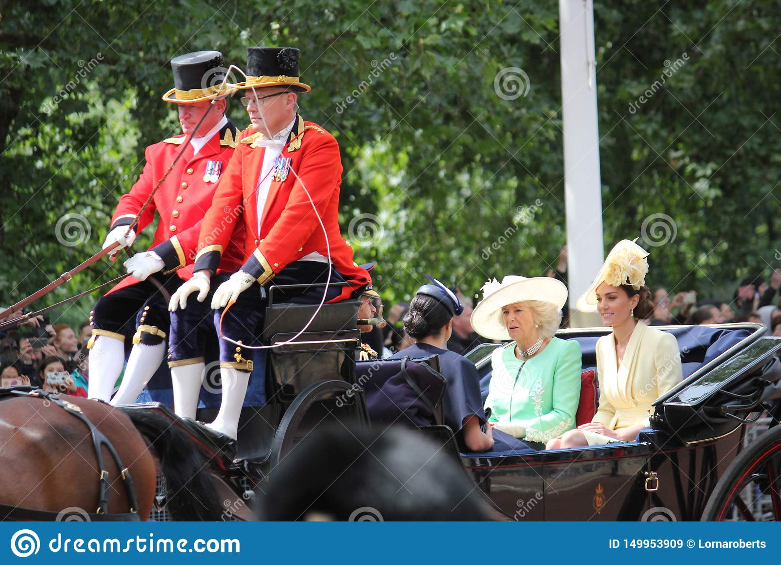 Meghan Markle & för prins Harry materiel, London UK, 8 Juni 2019 - Meghan Markle Prince Harry Trooping färgkungafamiljen
