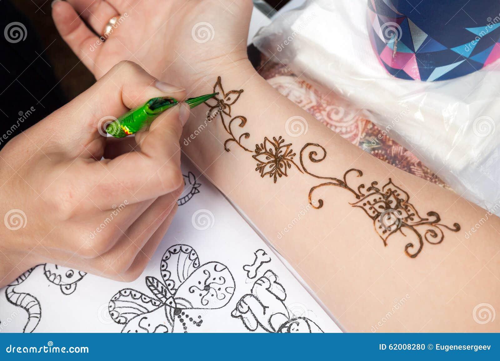 Mehndi Hands Powerpoint : Mehndi application on woman hand skin decoration editorial image