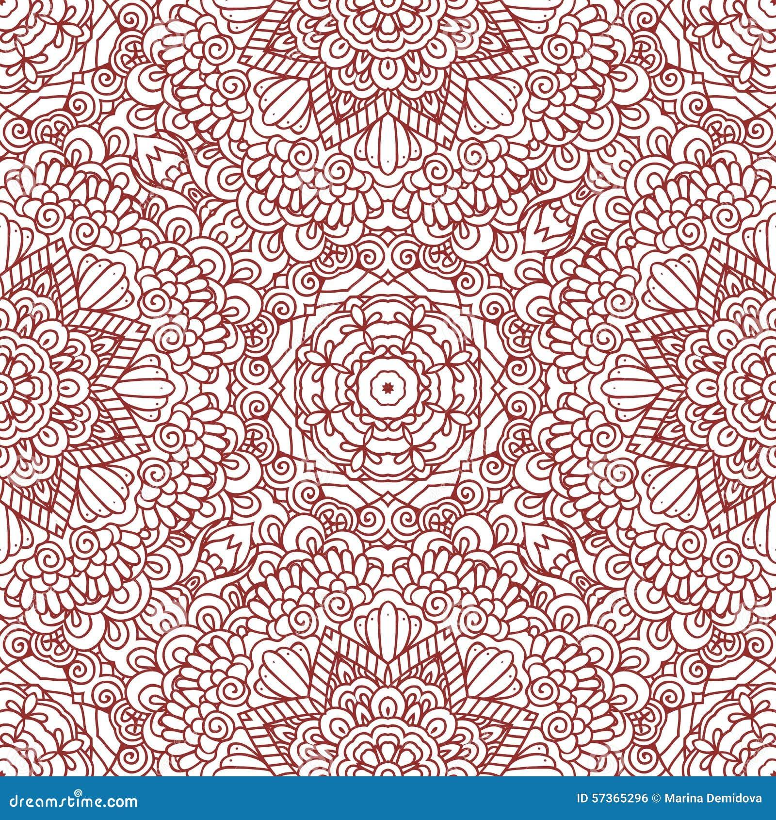 Mehndi Henna Design Seamless Pattern Stock Vector Illustration Of