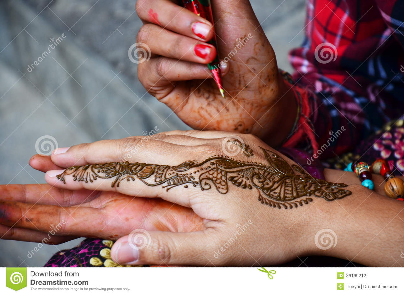 Mehndi Or Henna India Style At Nepal Stock Photo Image