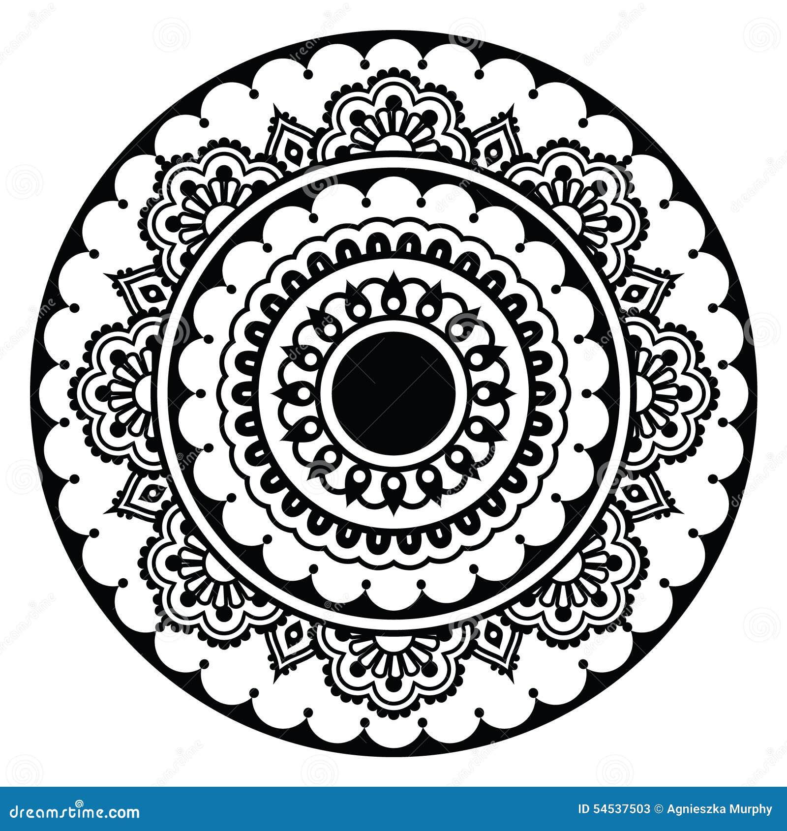 Mehndi Indian Henna Floral Tattoo Round Pattern Stock