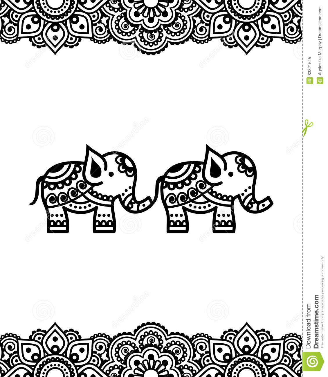 Mehndi Indian Henna Tattoo Design With Elephants Stock Illustration