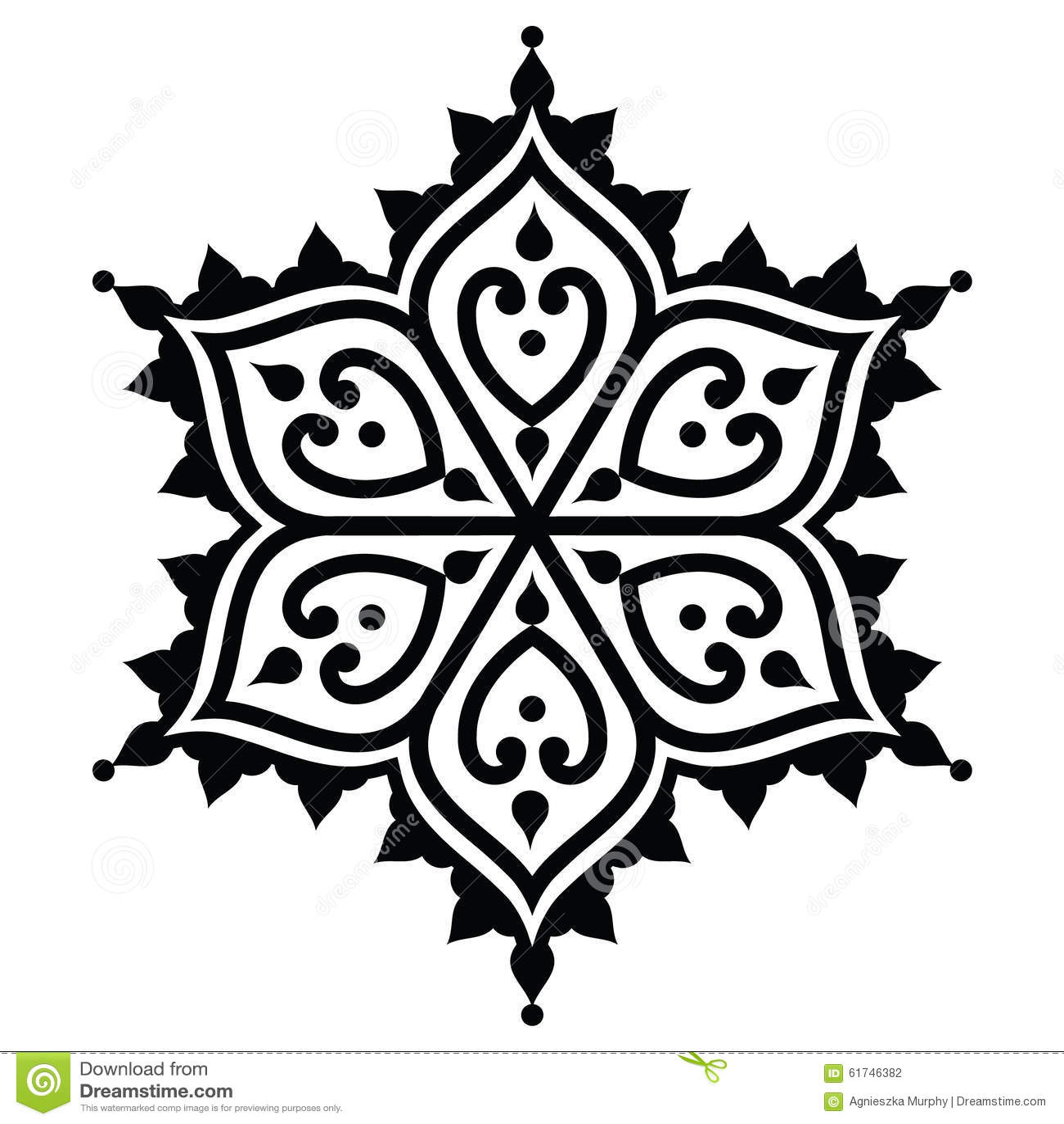 Mehndi Design Line Art : Mehndi indian henna tattoo design star shape stock