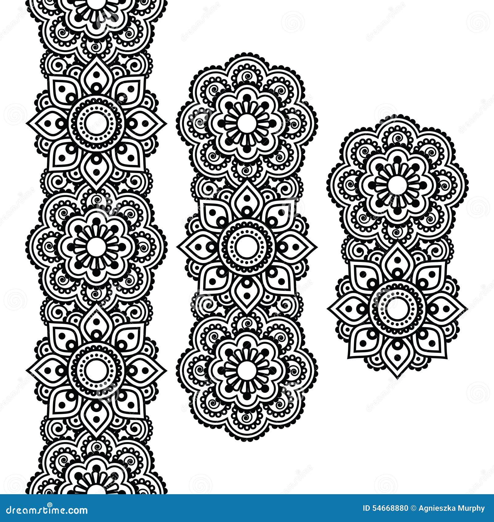Mehndi Indian Henna Tattoo Long Pattern Design Elements