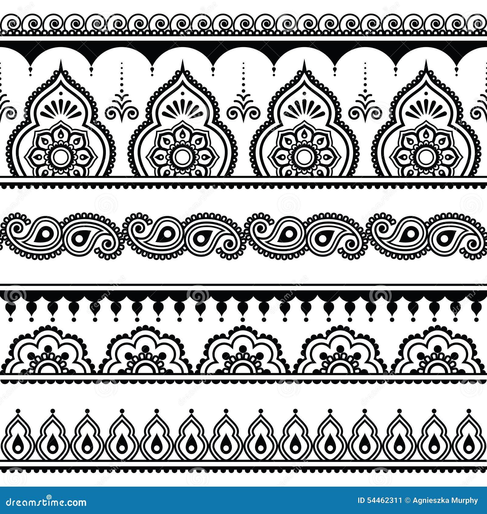 Traditional Henna Tattoo Designs: Mehndi, Indian Henna Tattoo Seamless Pattern, Design