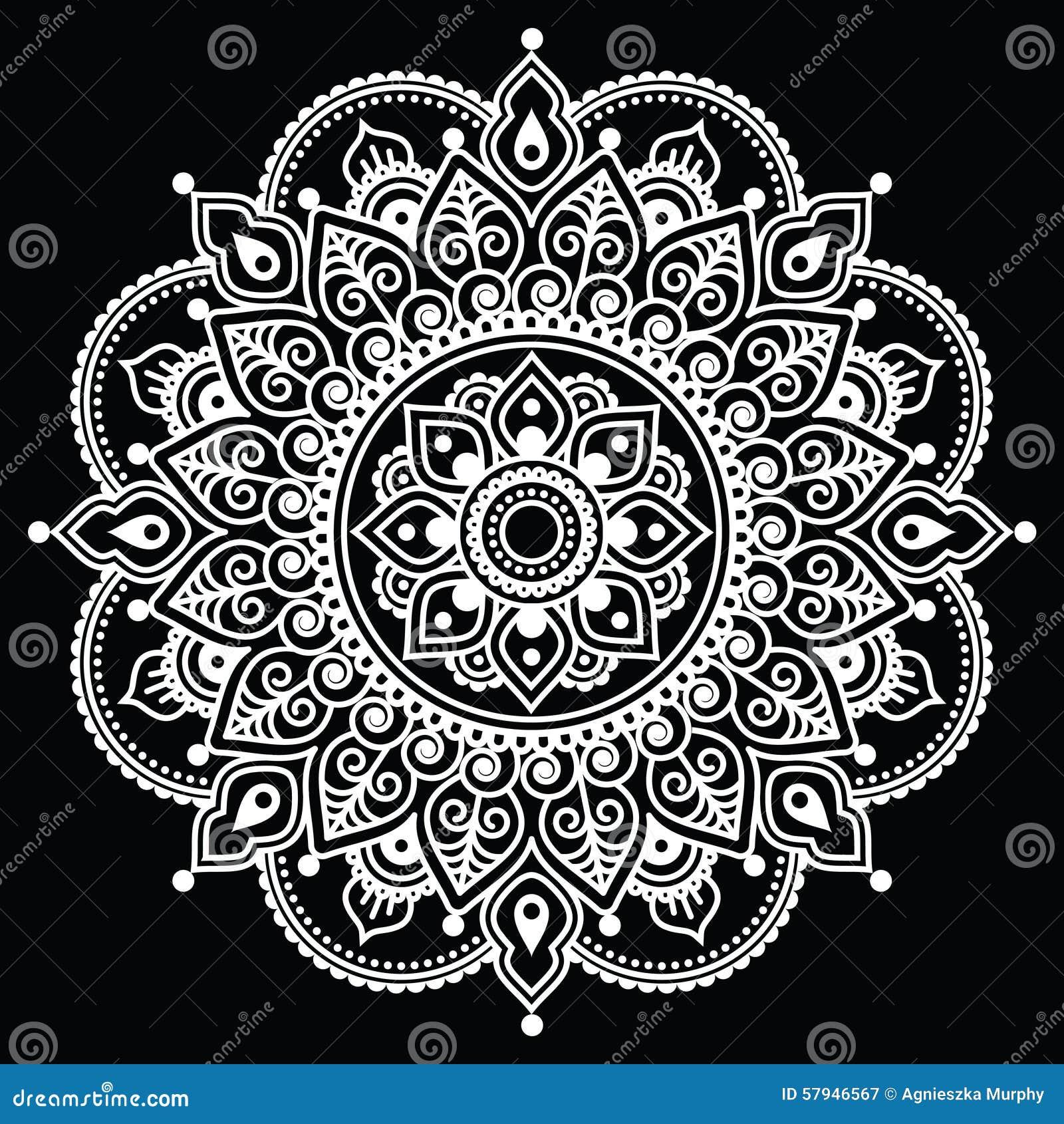 White henna design 5 five white henna designs - Mehndi Indian Henna Tattoo White Pattern On Black Background Stock Illustration