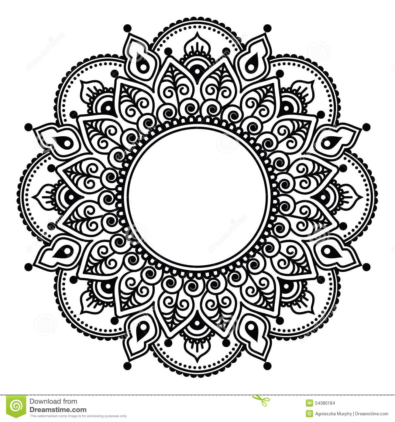 Henna Style Tattoos Lace Tattoo: Mehndi Lace, Indian Henna Tattoo Round Design Or Pattern