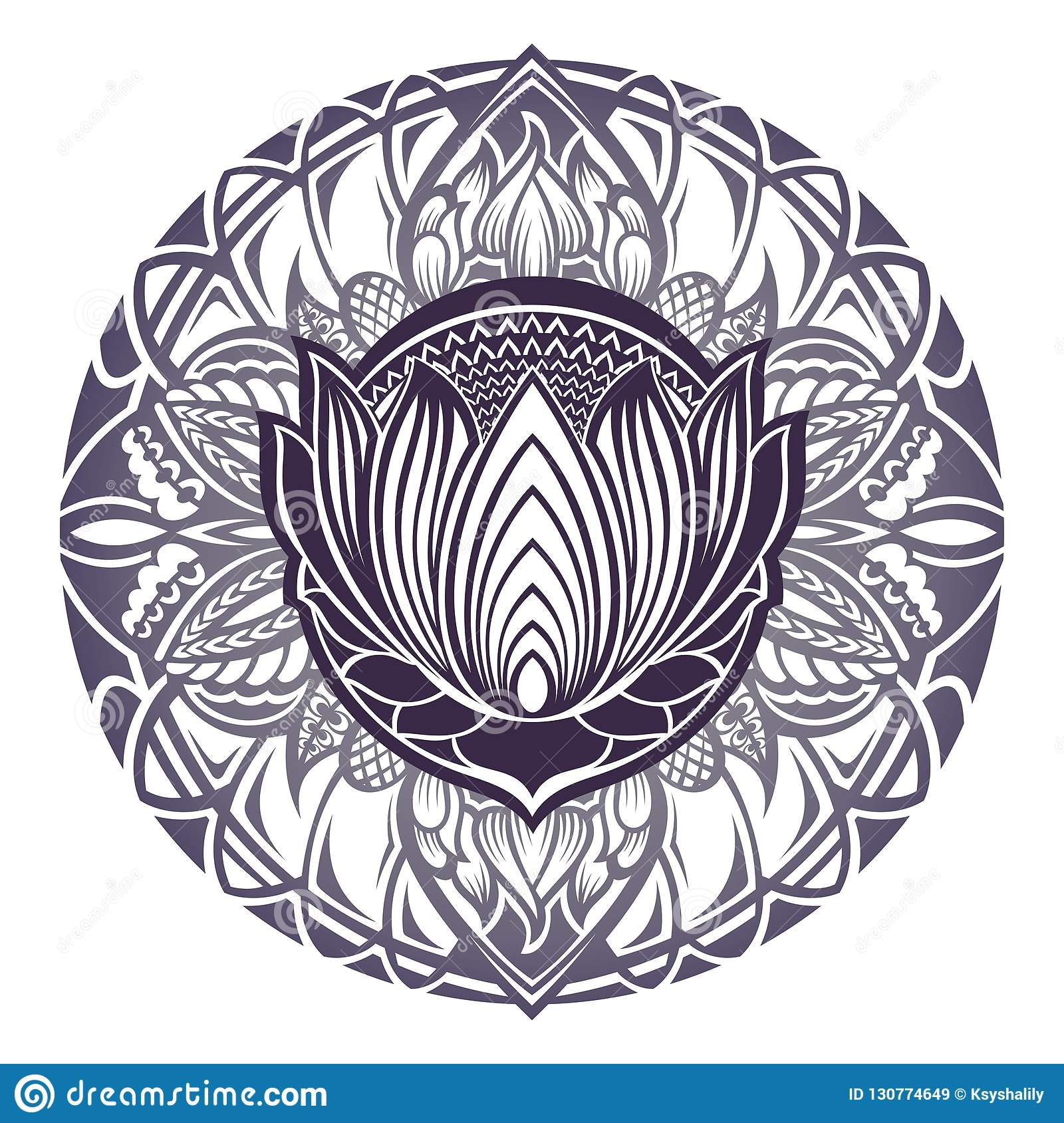 Mehndi Lotus Flower With Floral Frame Stock Vector Illustration Of