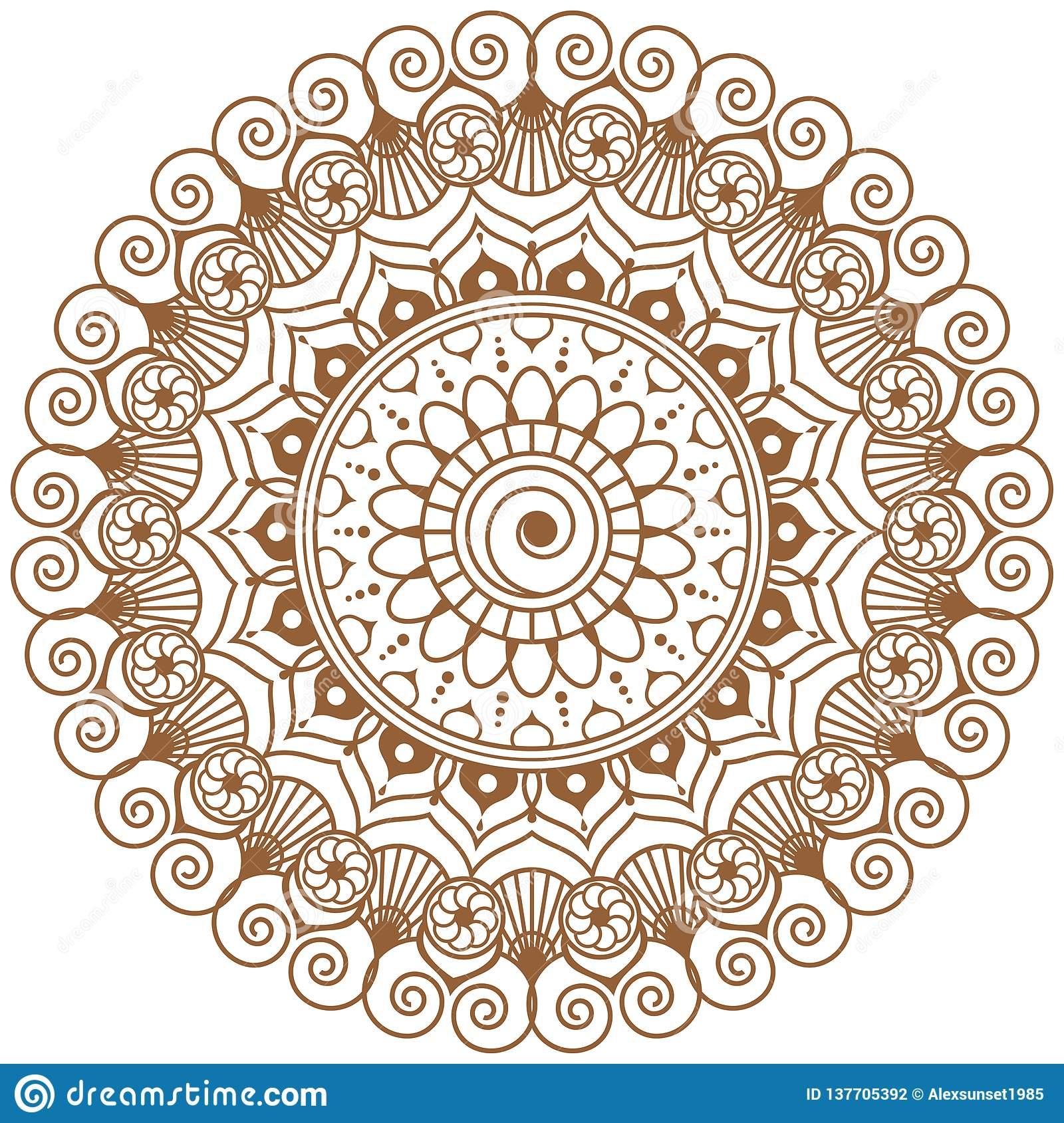 7a615af726573 Mehndi mandala brown flower in Indian henna style for tatoo or card. Vector  illustration isolated on white background