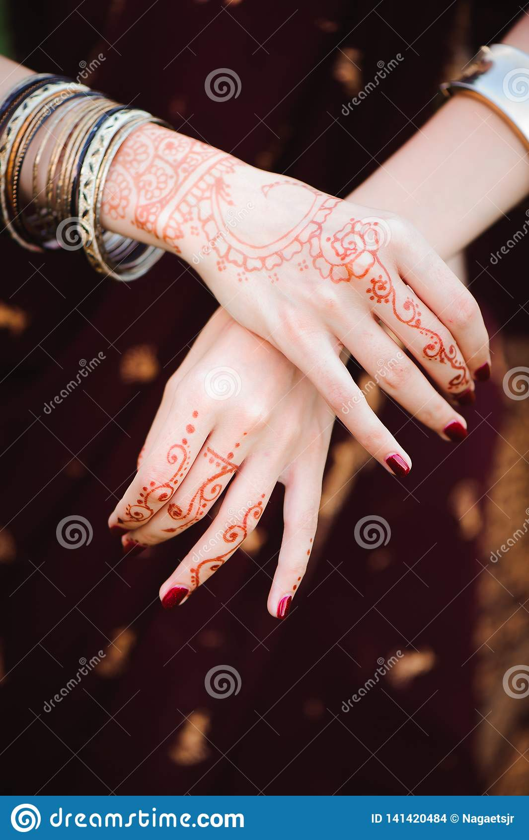 Mehndi Tattoo. Woman Hands With Black Henna Tattoos. India National ...