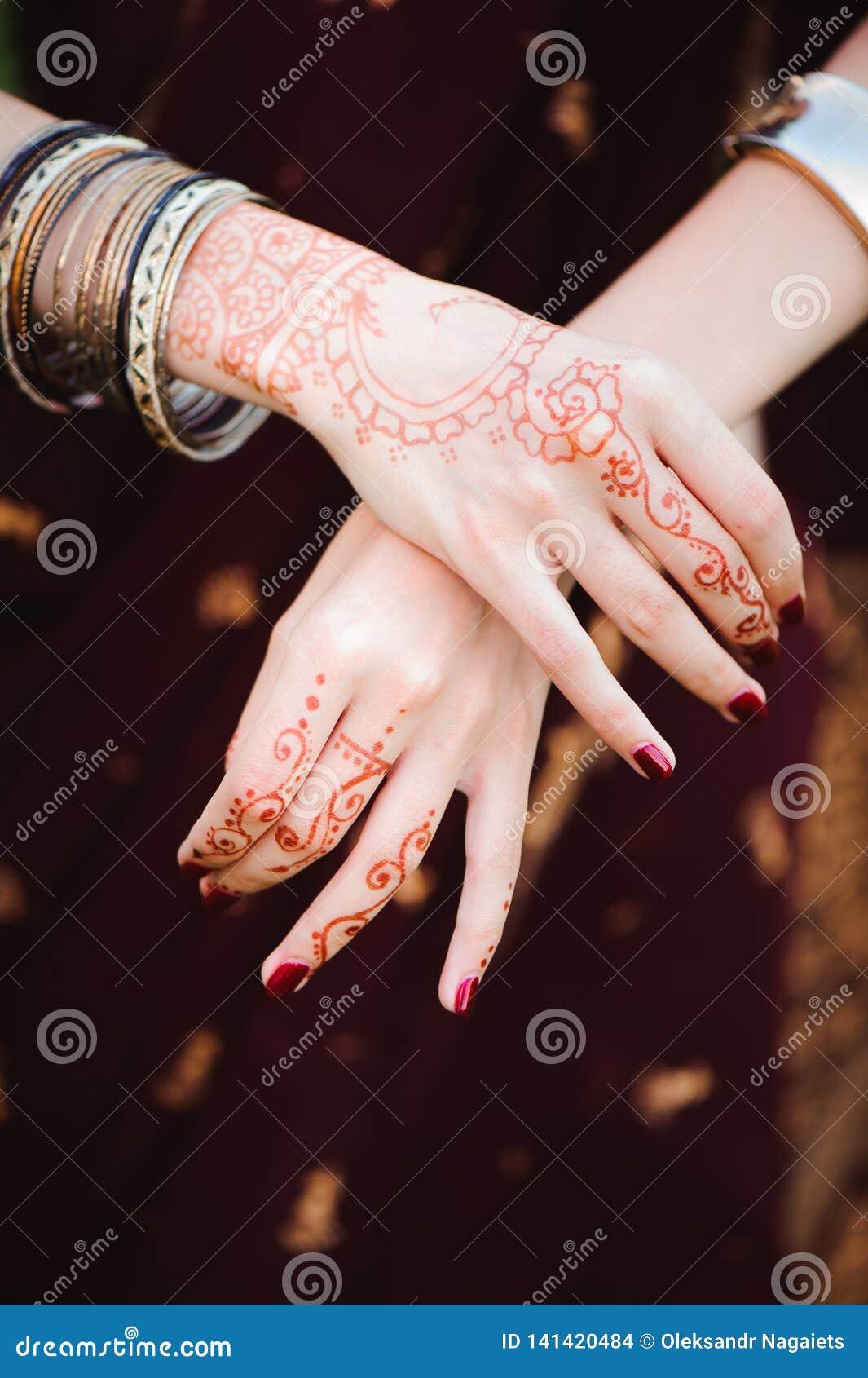 Mehndi Tattoo Woman Hands With Black Henna Tattoos India National