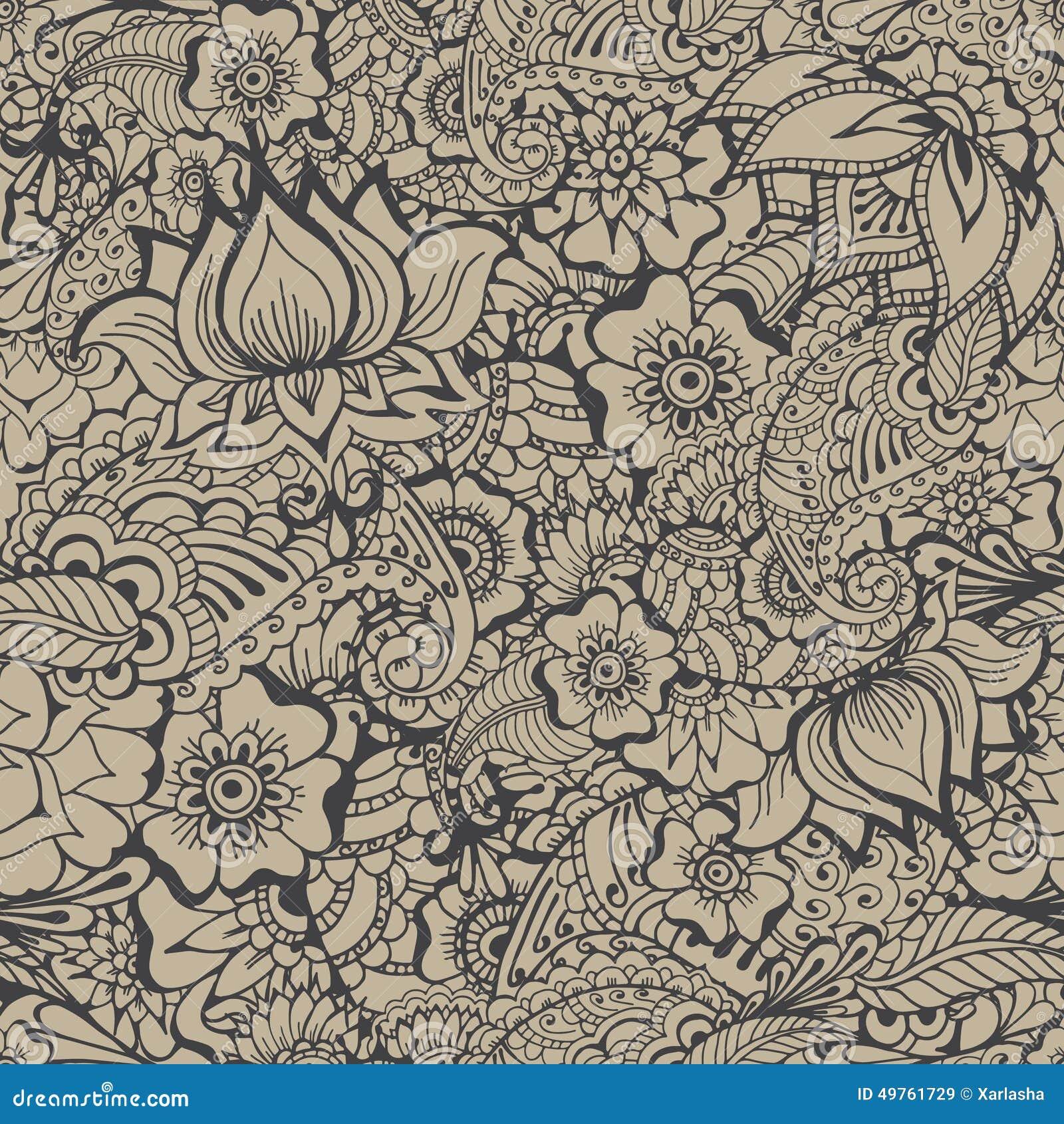 Mehndy Flowers Pattern Stock Vector Image 49761729