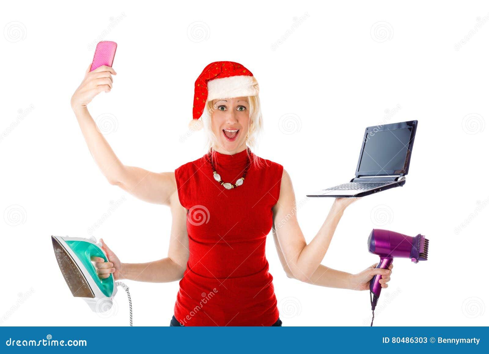 Mehrere Dinge Gleichzeitig Tun Von Santa Claus Stockbild - Bild von ...