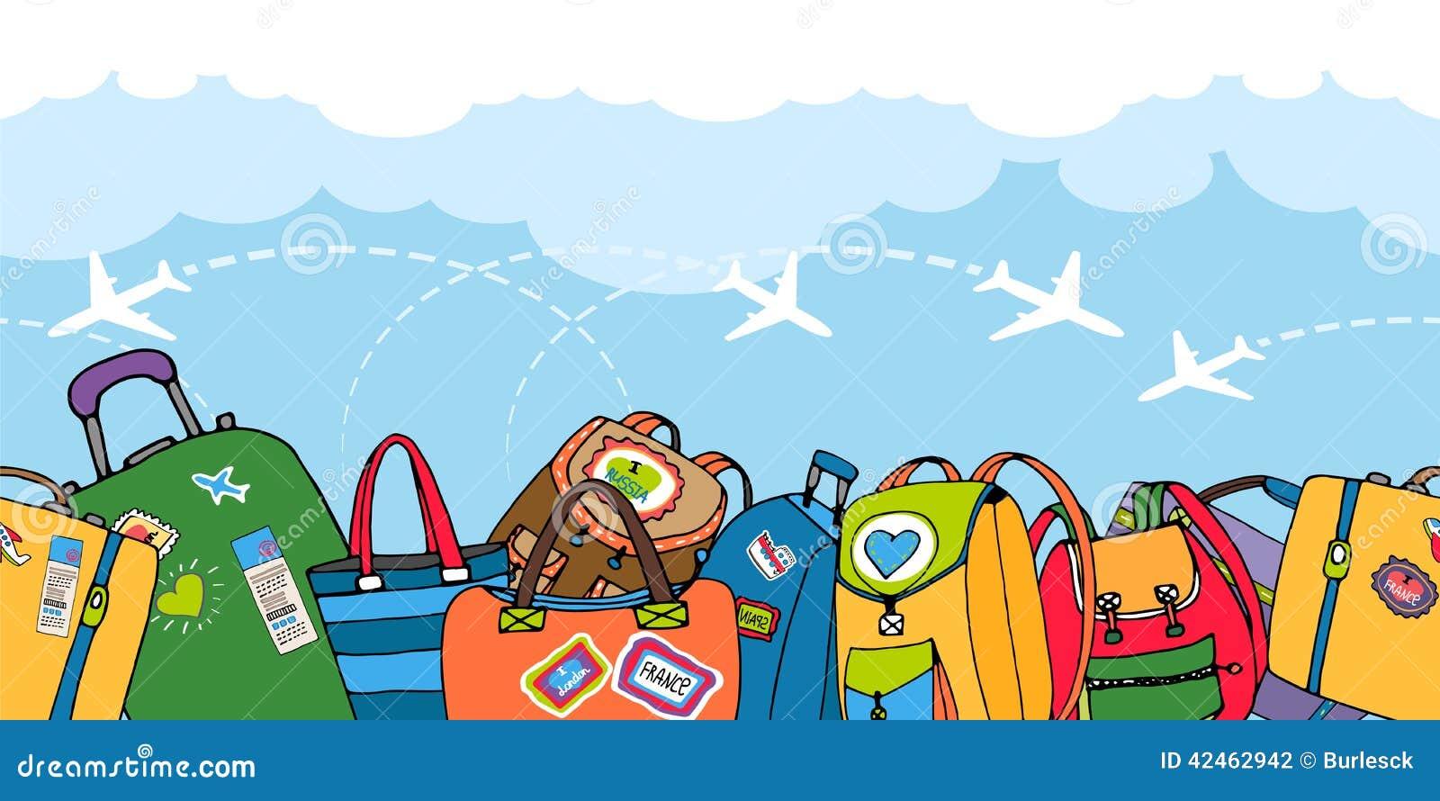 Mehrfache bunte Koffertaschen und -rucksäcke