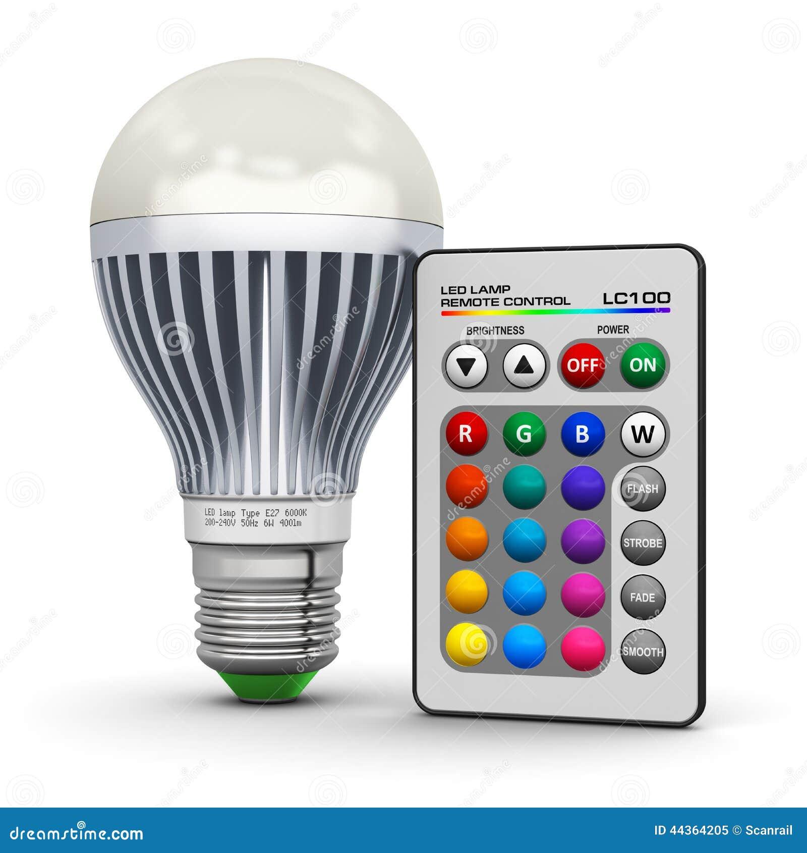Mehrfarben-LED-Lampe Mit Drahtloser Fernbedienung Stock Abbildung ...