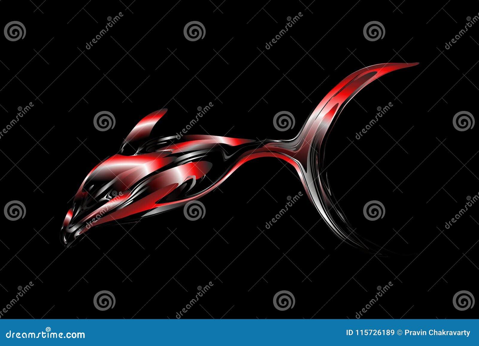 Mehrfarbige Fische des abstrakten Vektors mit 3d bewirken Hintergrund mit Lichteffekt, Vektorillustration