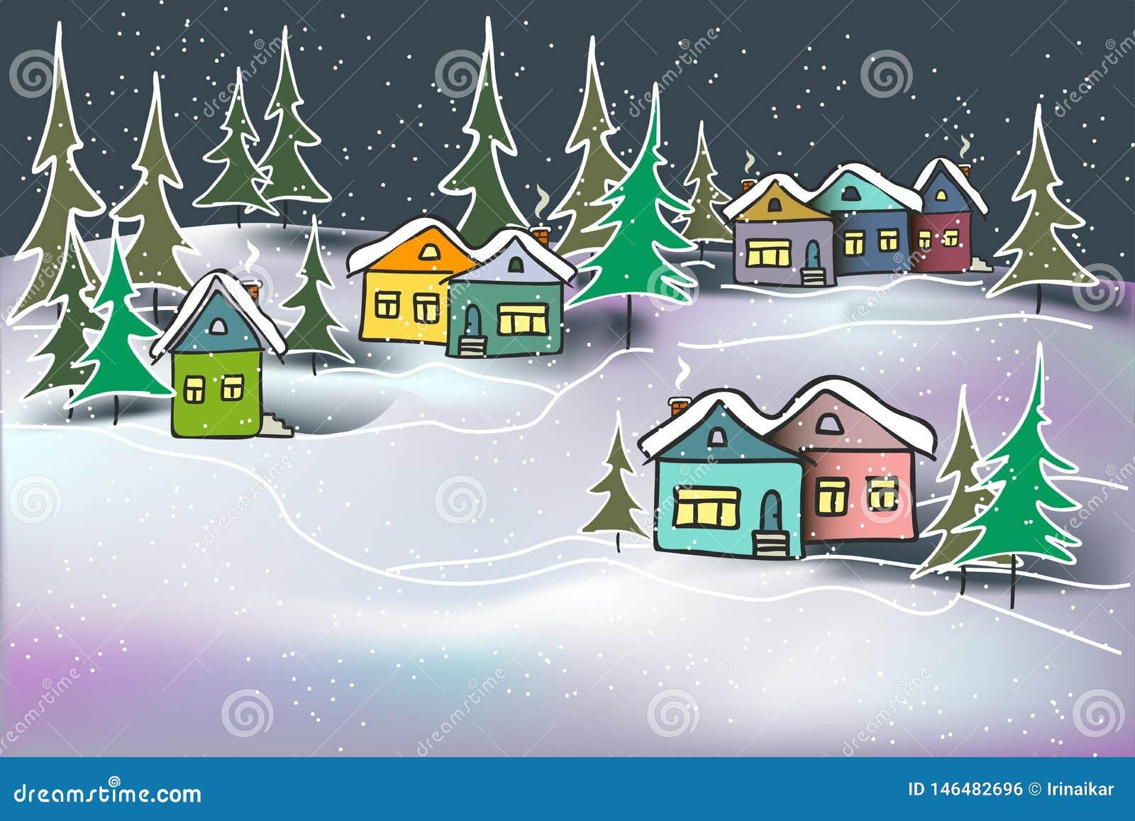 Mehrfarbige Häuser und Tannen des netten gemütlichen Nachtwinterlandschaftskaramels in den Schneeantrieben