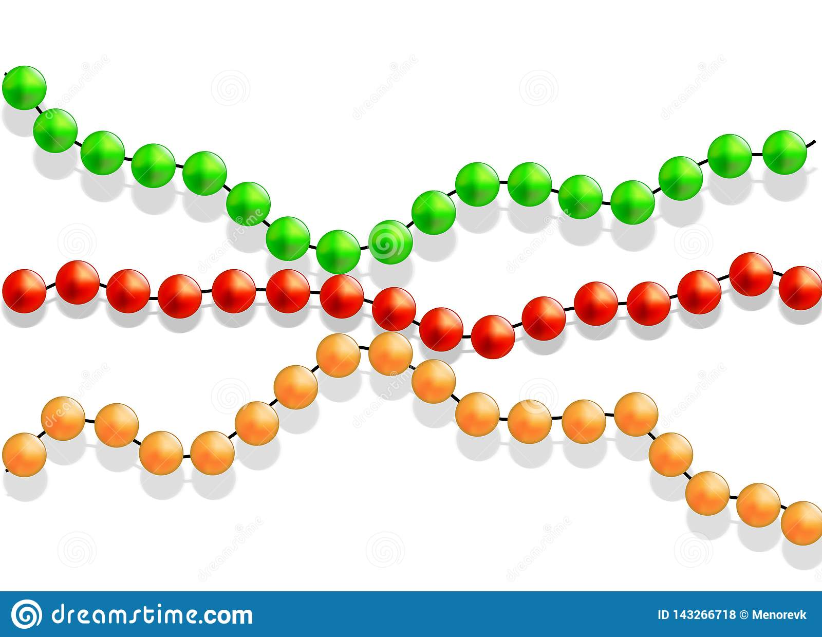 Mehrfarbige Perlen auf einem weißen Hintergrund