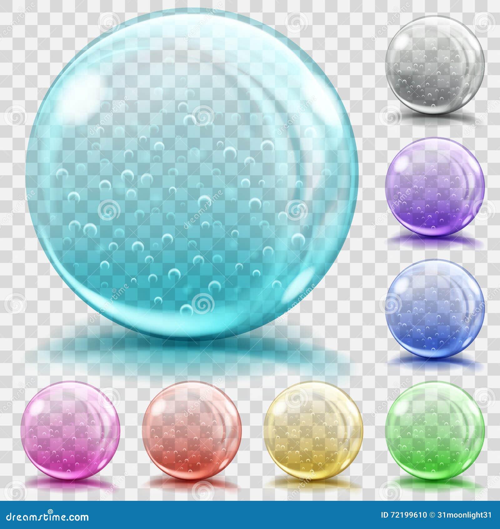 Mehrfarbige transparente Glasbereiche mit Luftblasen