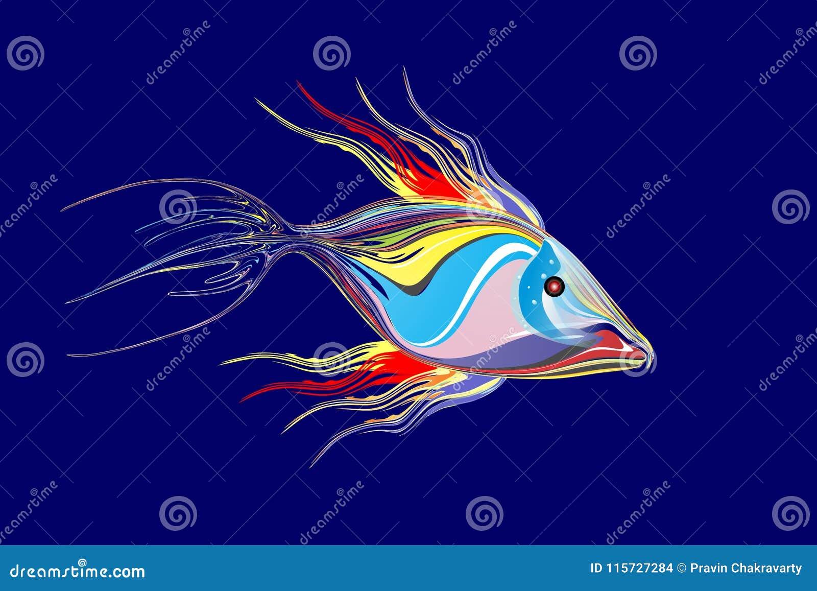 Mehrfarbiger Fischhintergrund des abstrakten Vektors mit Lichteffekt, Vektorillustration