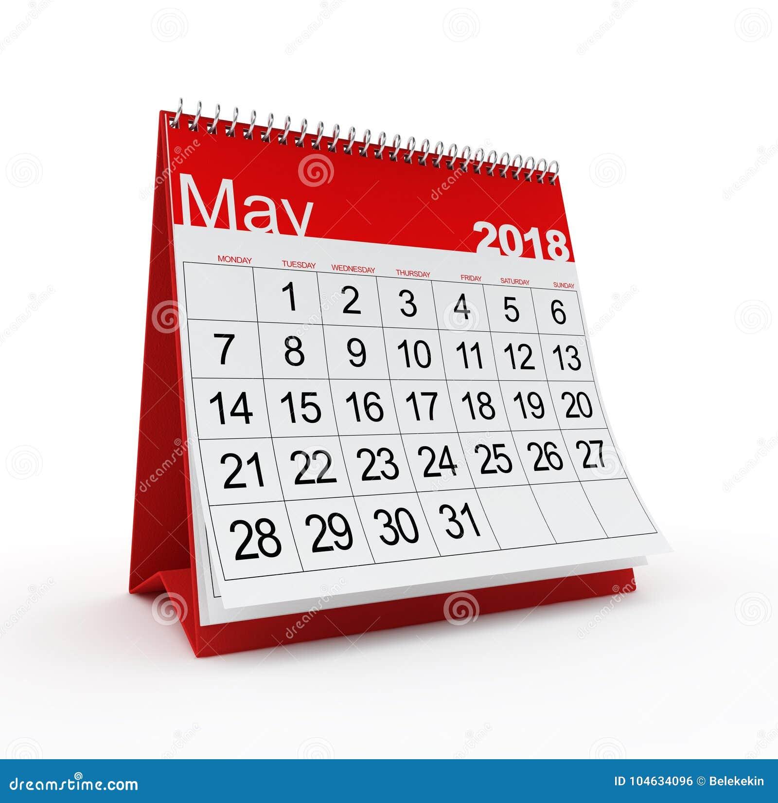 Download Mei 2018 Maandelijkse Kalender Stock Illustratie - Illustratie bestaande uit tijd, digitaal: 104634096